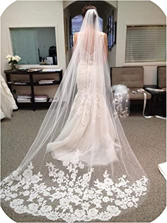 LETFF Double-layer bride wedding veil long trailing lace veil and comb 2 pieces ivory white