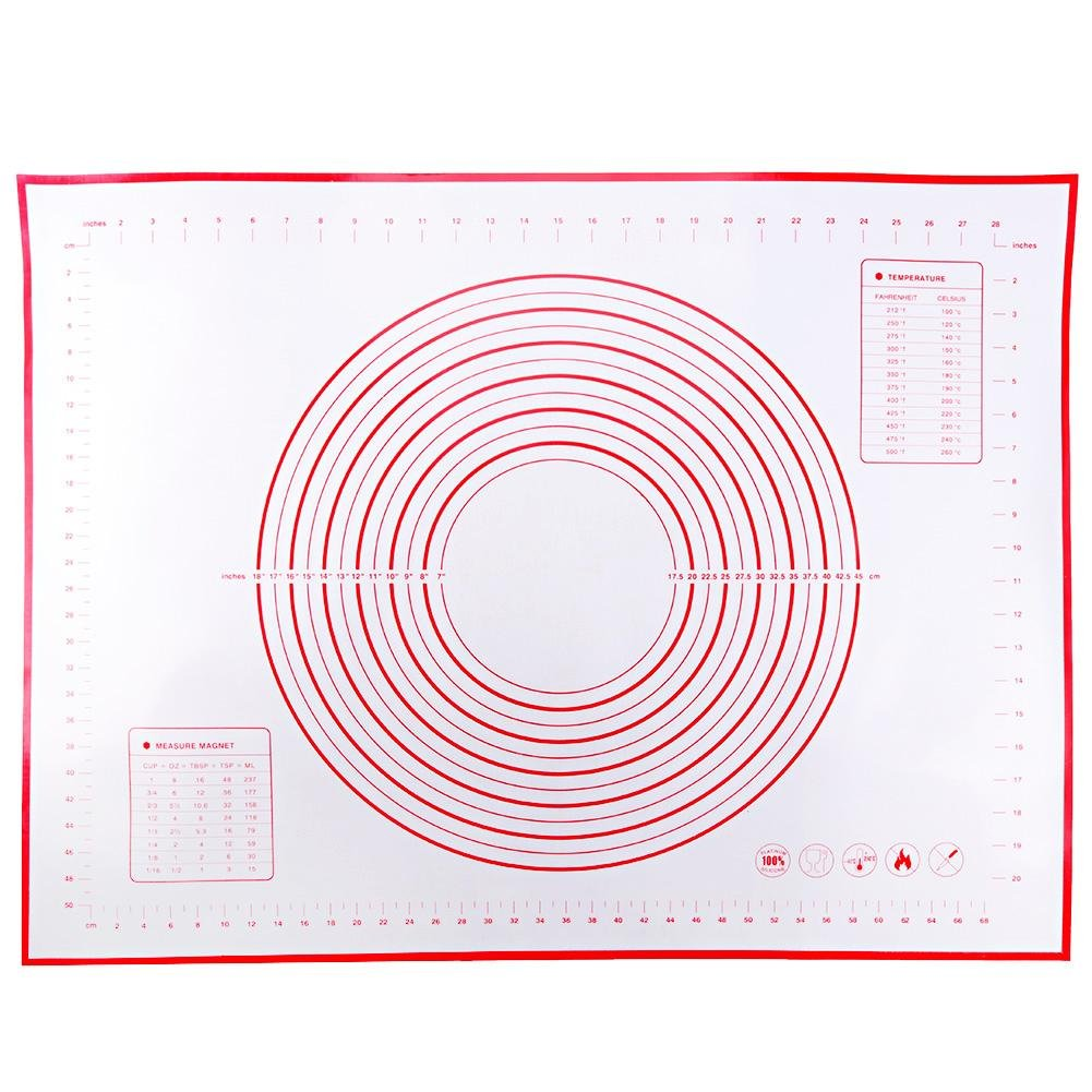CALISTOUK Kitchen Baking Accessory Silicone Tray Dough Rolling Mat 60*80cm Red
