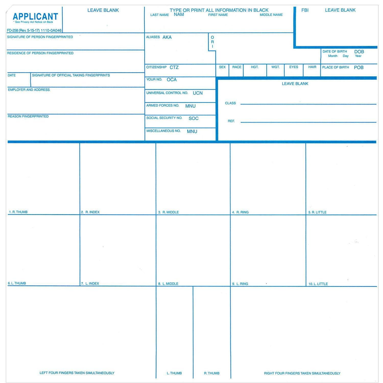 Fingerprint Cards, Applicant FD-258 (250pk) by Crime Scene