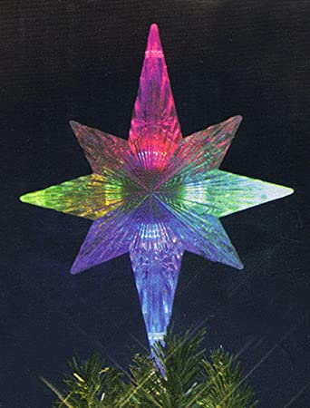 11 led lighted color changing star christmas tree topper multi color lights - Lighted Christmas Tree Topper