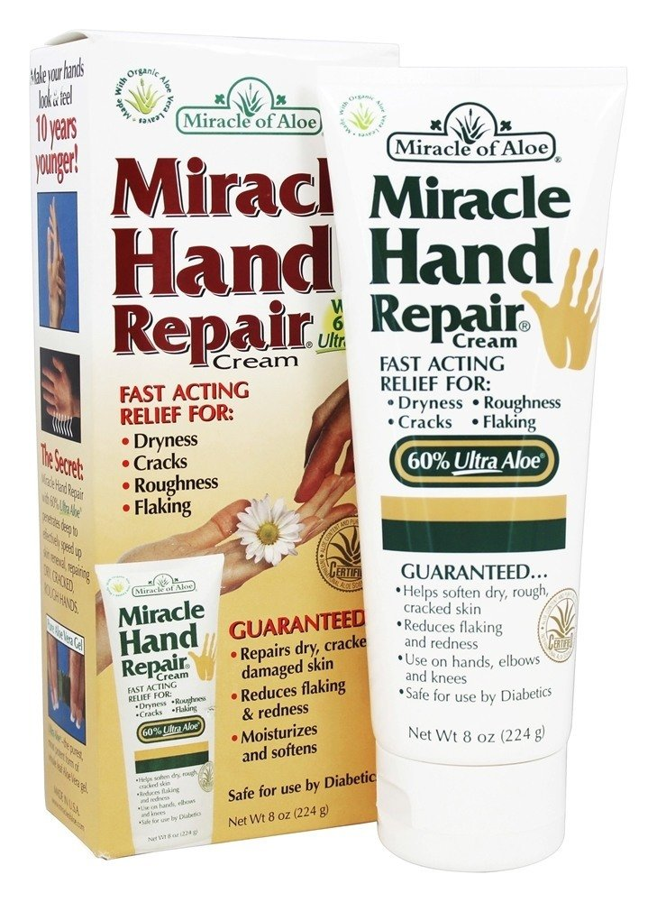 Miracle of Aloe, Miracle Hand Repair Cream 8 ounce tube with 60% UltraAloe MHRCD12