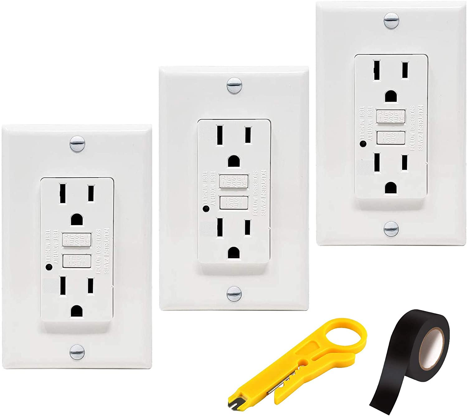 TEKLECTRIC - GFCI Receptacle 15A 125V Tamper Resistant + Wall Plate - GFCI Outlet 15 AMP 125 VOLT Grounded - Wall Plate and Screws Included WHITE (3 Pack)