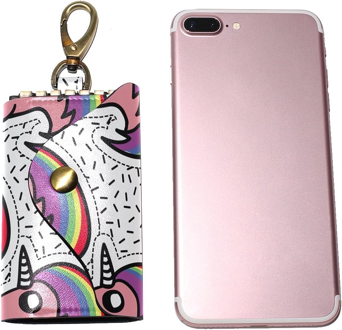 DEYYA Beautiful Rainbow Unicorn Leather Key Case Wallets Unisex Keychain Key Holder with 6 Hooks Snap Closure