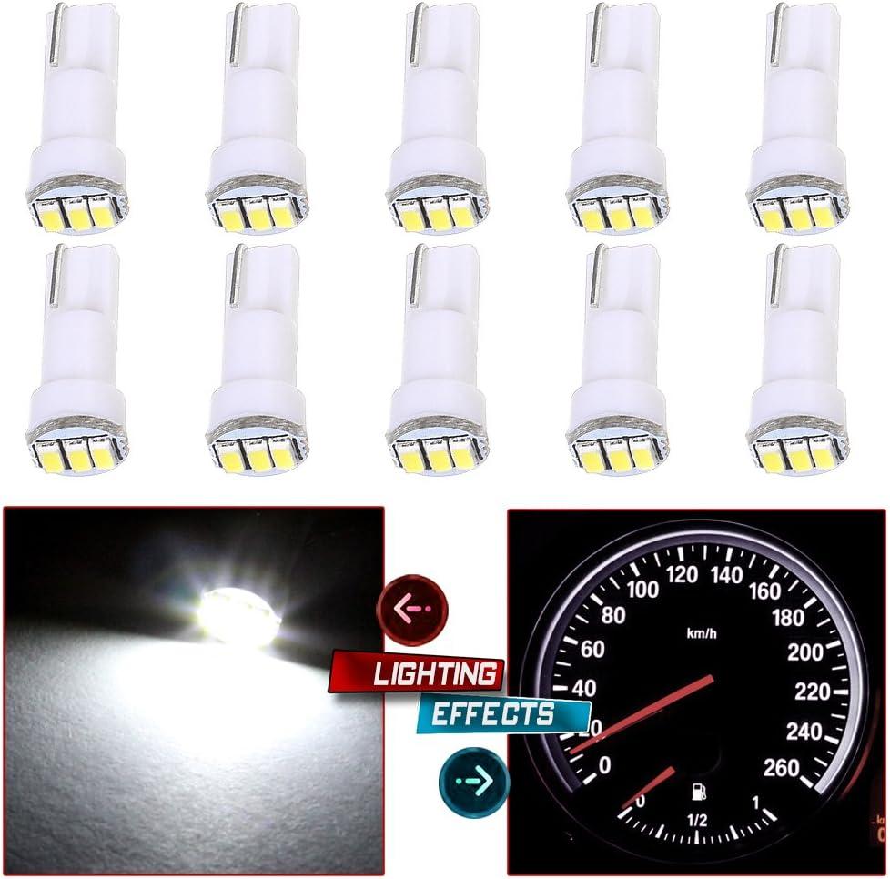 cciyu 10 Pack White T5 73 Wedge 3-3014SMD Instrument Gauge Dash Light LED Bulbs Replacement fit for 1996-1997 1999-2003 GMC Yukon XL 1500 K3500 Suburban K2500 K1500 Savana 1500 Sierra 2500 HD