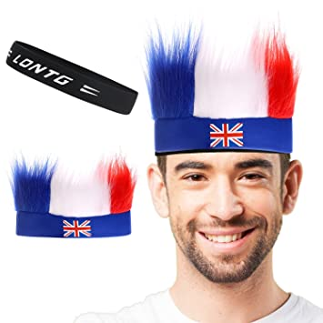 8c400949cbc LONTG 2018 World Cup Wig Hat Football Fans Wig Carnival Masquerade Wig Set Headband  National Flag