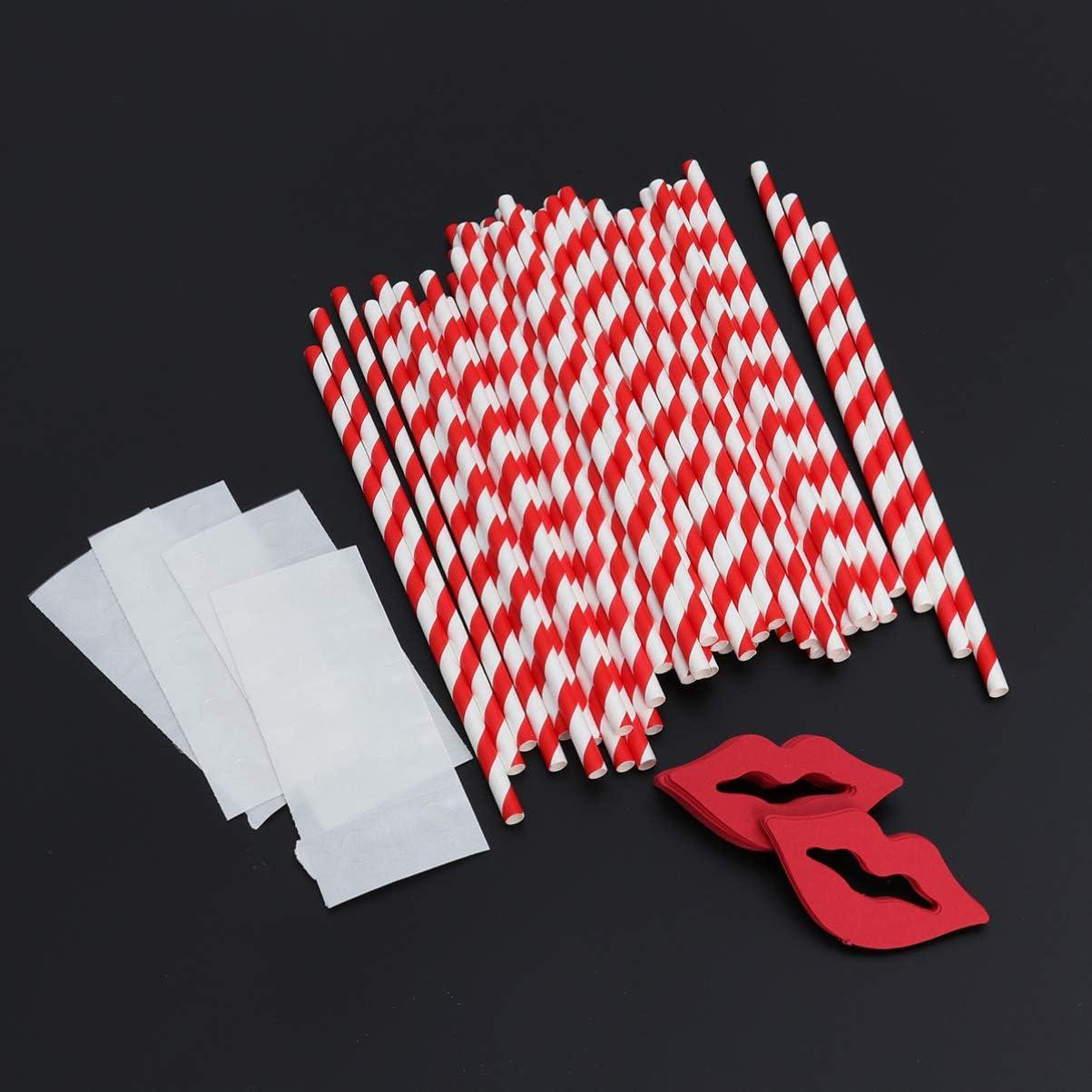 Paty Deko anniversaire Toyvian Lot de 50 pailles /à rayures rouges et blanches en papier amusant pour mariage