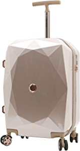 kensie Women's 3D Gemstone TSA Lock Hardside Spinner Luggage, Rose Gold, 20-Inch Carry-On