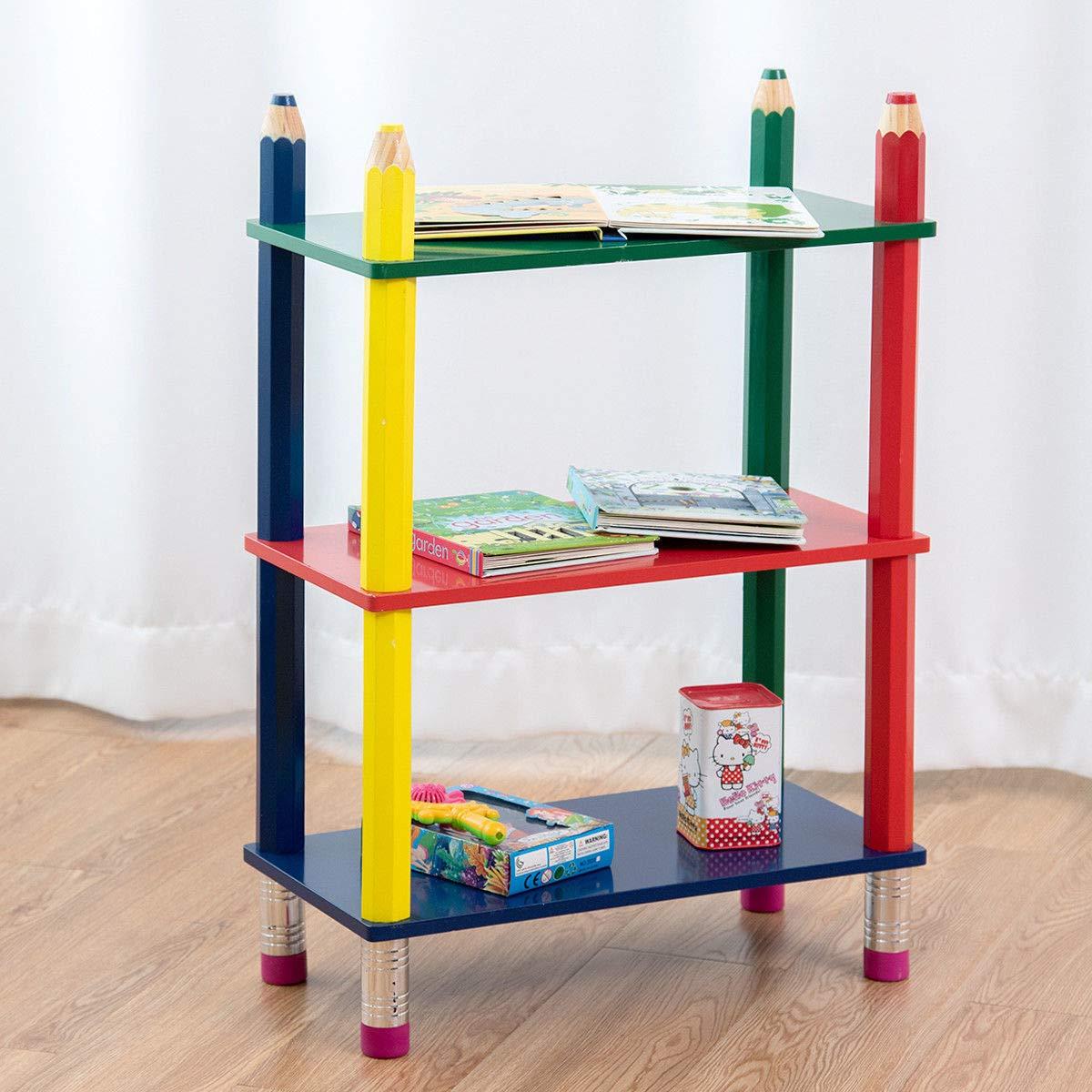Modello 1 Costway Scaffale per Bambini Libreria a 3 Ripiani Porta Giocattoli in MDF Ecologico 48 x 24 x 72 cm