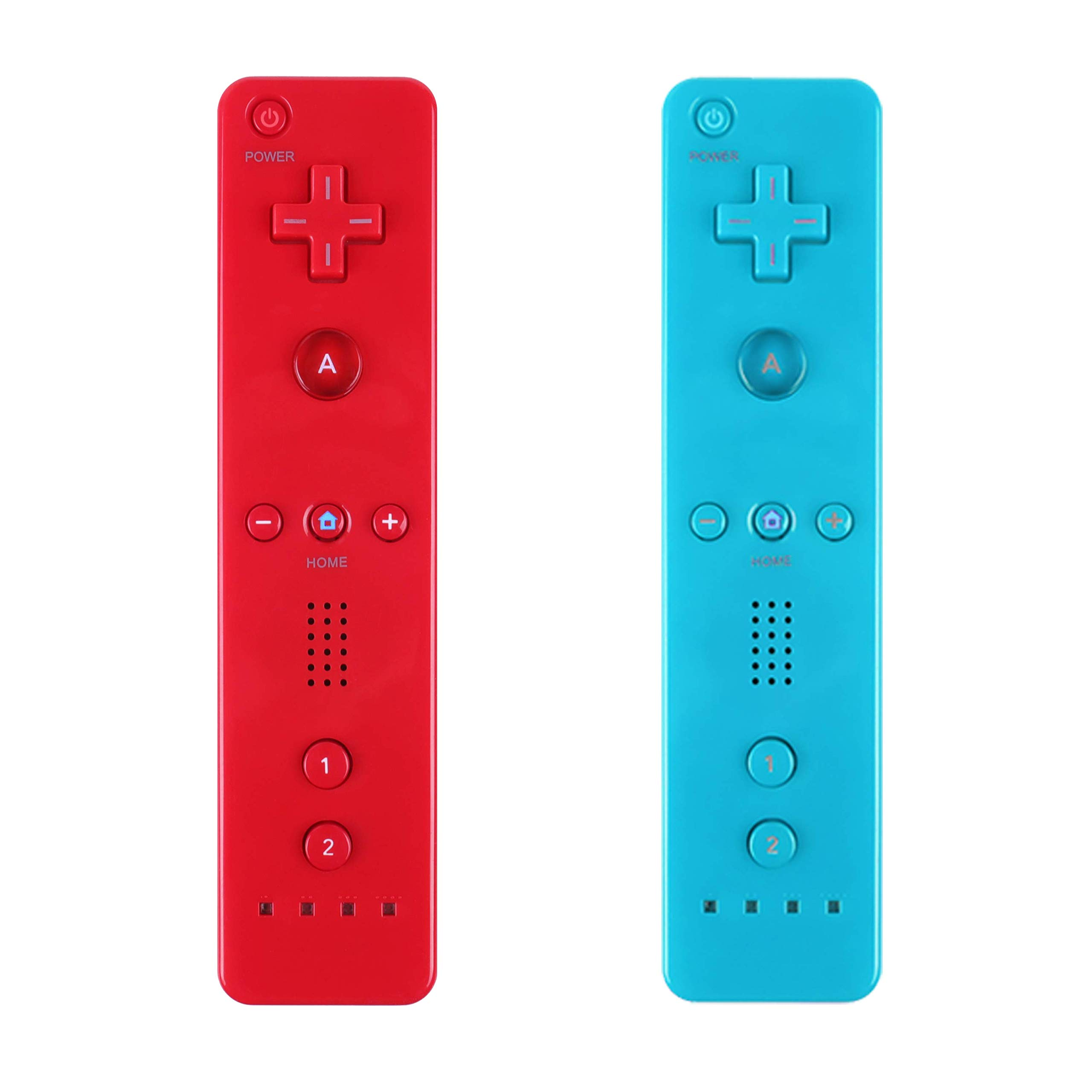 Yosikr 2 Packs Remote Wireless Controller Compatible for Nintendo wii/wii u Console - with Silicone Case and Wrist Strap (Red and Blue)