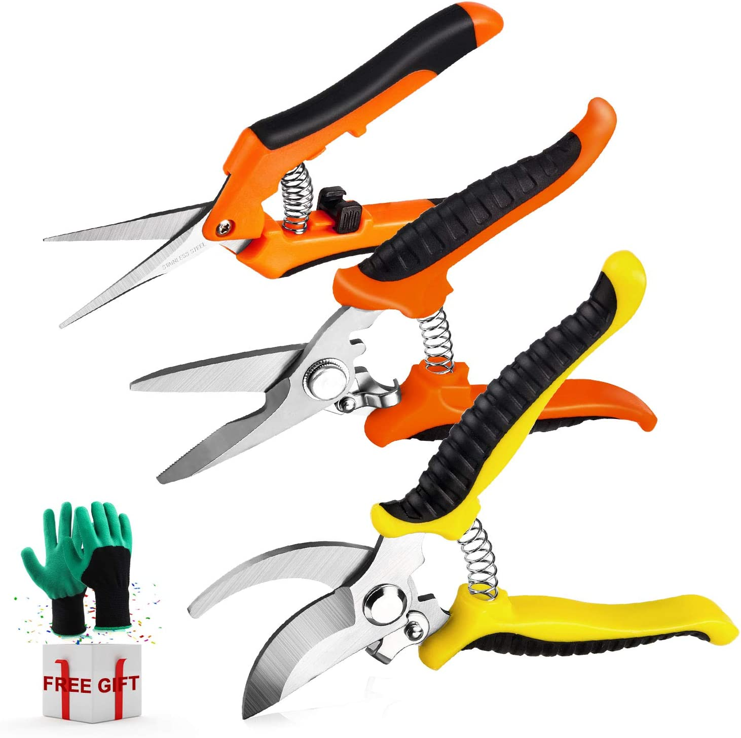 3 Pack Garden Pruning Shears Stainless Steel Blades Handheld Pruners Set with Gardening Gloves: Home Improvement