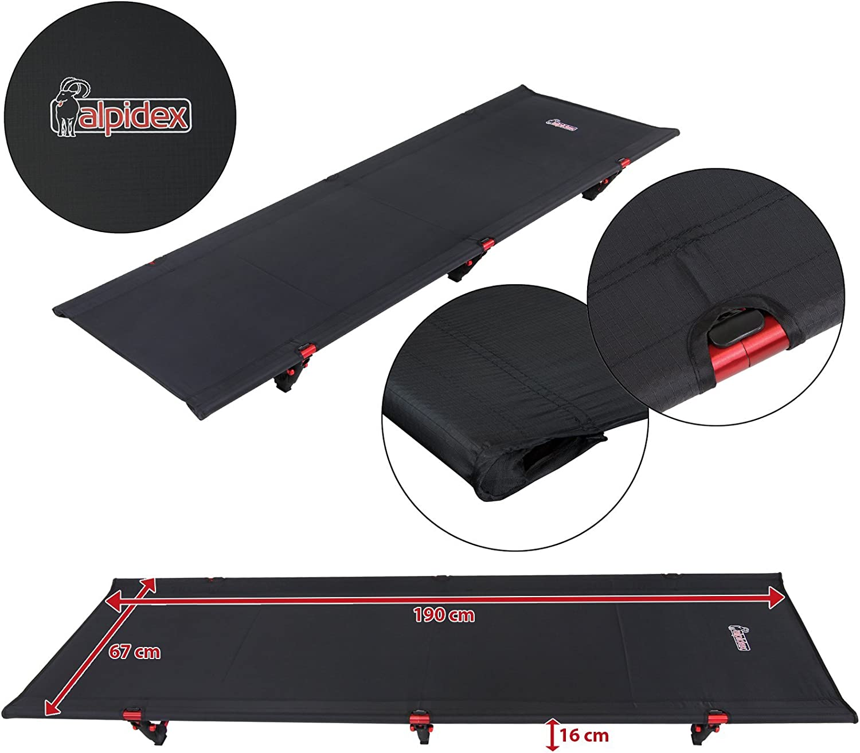 GraceU Ultraleichtes Campingbett Feldbett Zusammengefaltet 50 cm x 13 cm Gewicht 1,36 kg mit bis zu 200 kg Belastbarkeit Aluminium Zelt Bett