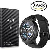 Youniker 3pezzi Ticwatch e protezione schermo in vetro temperato, Ticwatch S Smart Watch pellicola proteggi schermo in vetro 9H 0.3mm sottile, anti-graffio, anti-impronte, senza bolle
