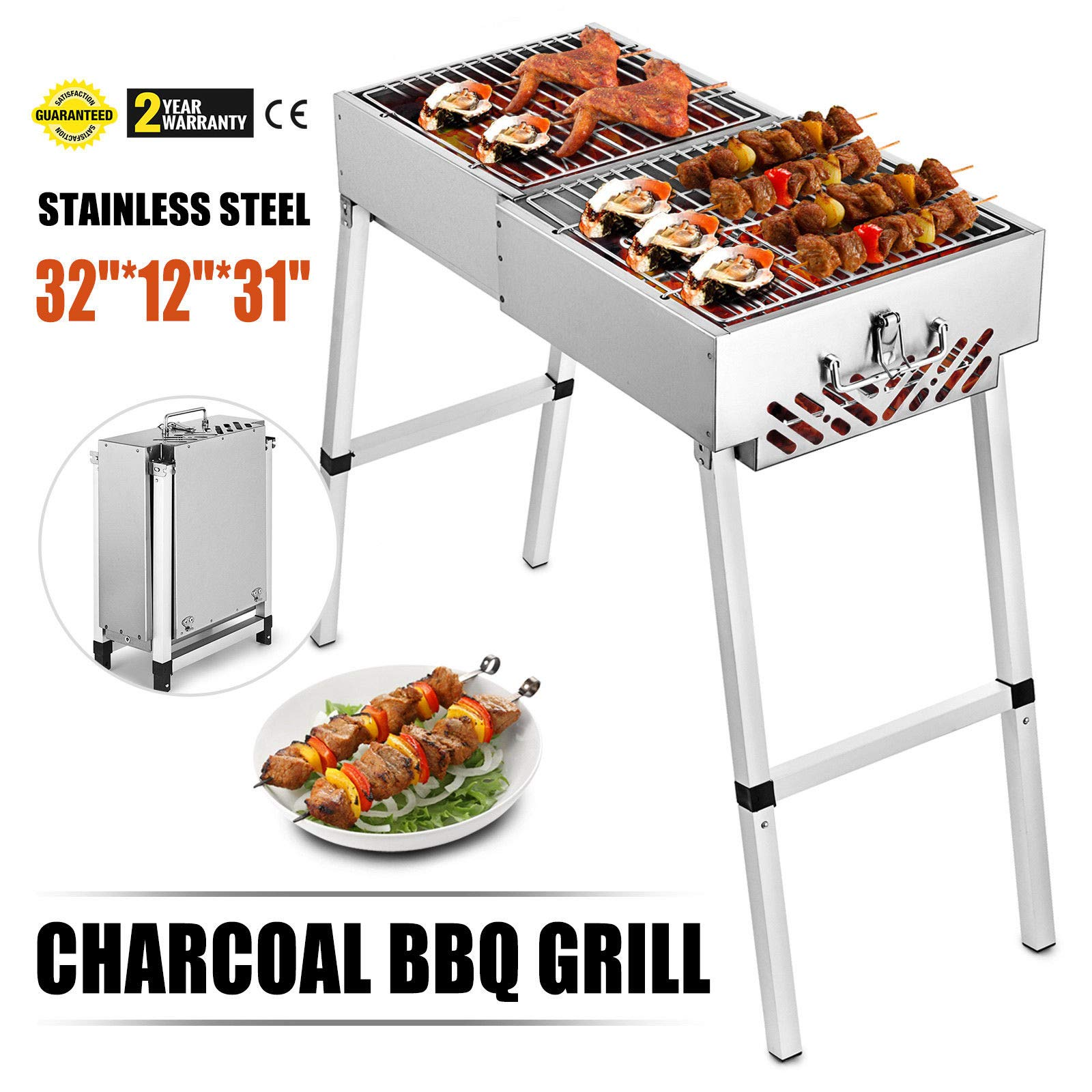 VEVOR Folded Portable Charcoal BBQ Grill Outdoor Barbecue Charcoal Stainless Steel Kebab Grill Folding Grill Portable Grill Perfect for Camping (32'' x 12'')