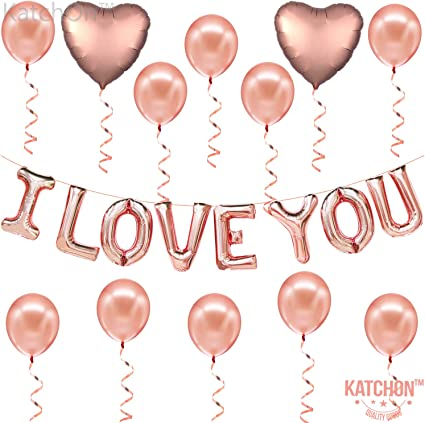 """LOVE STORY Rose Gold Balloons Photo Booth Red Heart Valentines 16/"""" Engaged"""