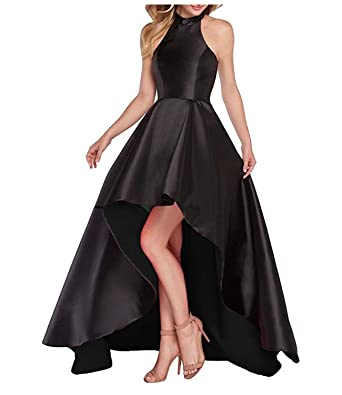 macria Womens Cocktail Party Dress Halter Satin High Neck Prom Dress with Pockets Size 2 Black