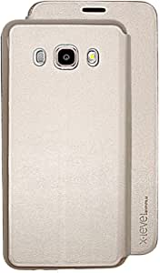 X-level FibColor Leather Flip Case Cover with Screen Protector for Samsung Galaxy J5 (2016) J510F, Gold