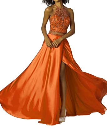 Ladsen Womens Tow Piece Beaded See-Through Pageant Gowns 2018 Slit Red Long Prom Dress