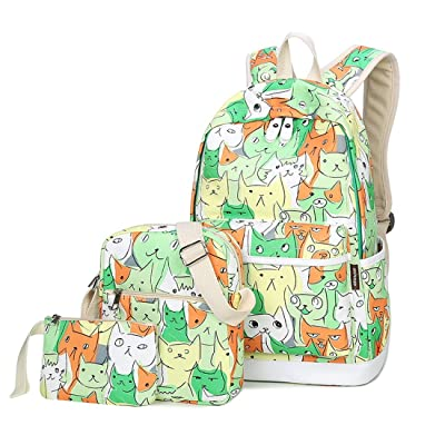 Joymoze Waterproof Backpack Set 3 Pieces Fashion Printing Bookbag for Boys and Girls Green Cat 845