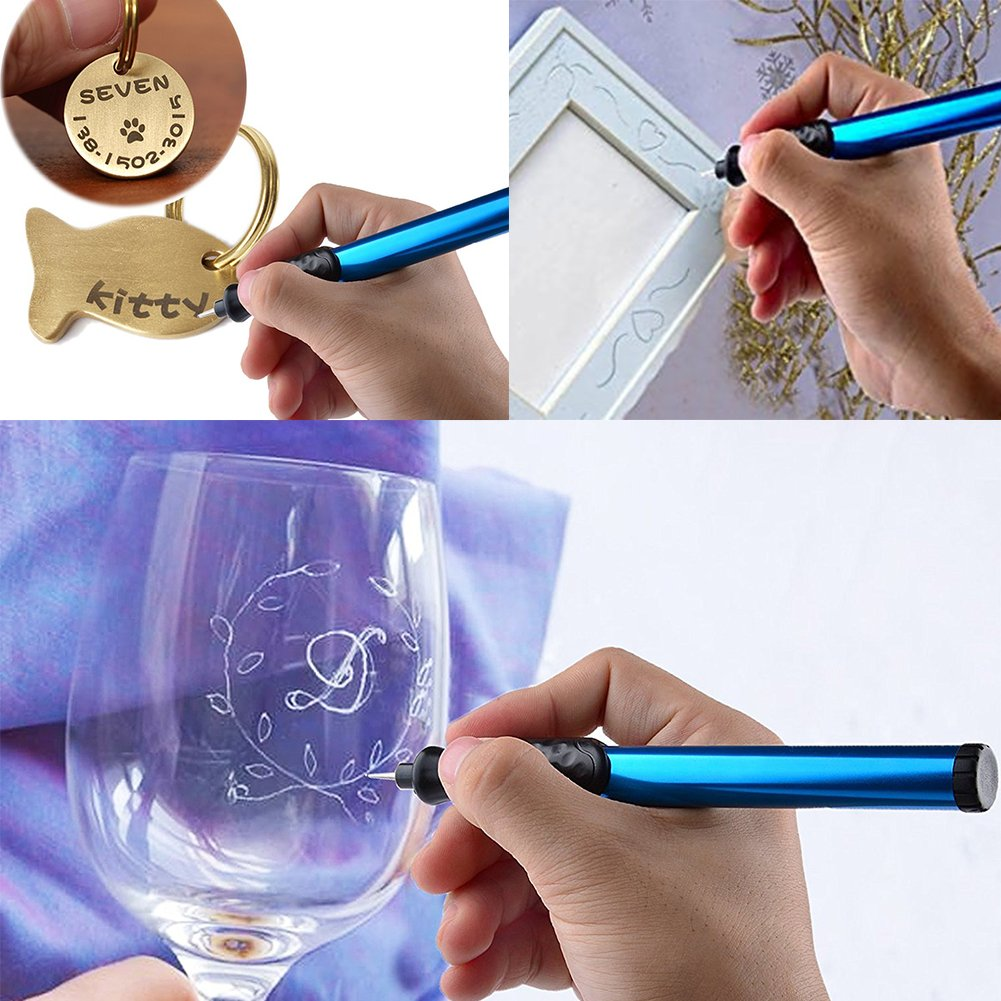 Glass with Replaceable Diamond Tip Bits DIY Engraver Pen Electric Engraver Engraving Tools for Jewellery Making,Metal