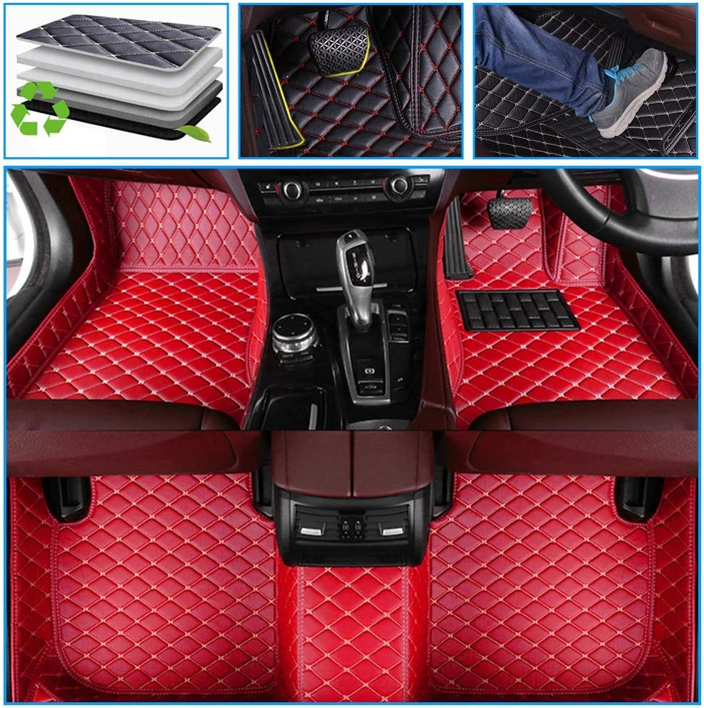 Muchkey car Floor Mats fit for Jeep Grand Cherokee 2011-2018 Full Coverage All Weather Protection Non-Slip Leather Floor Liners red