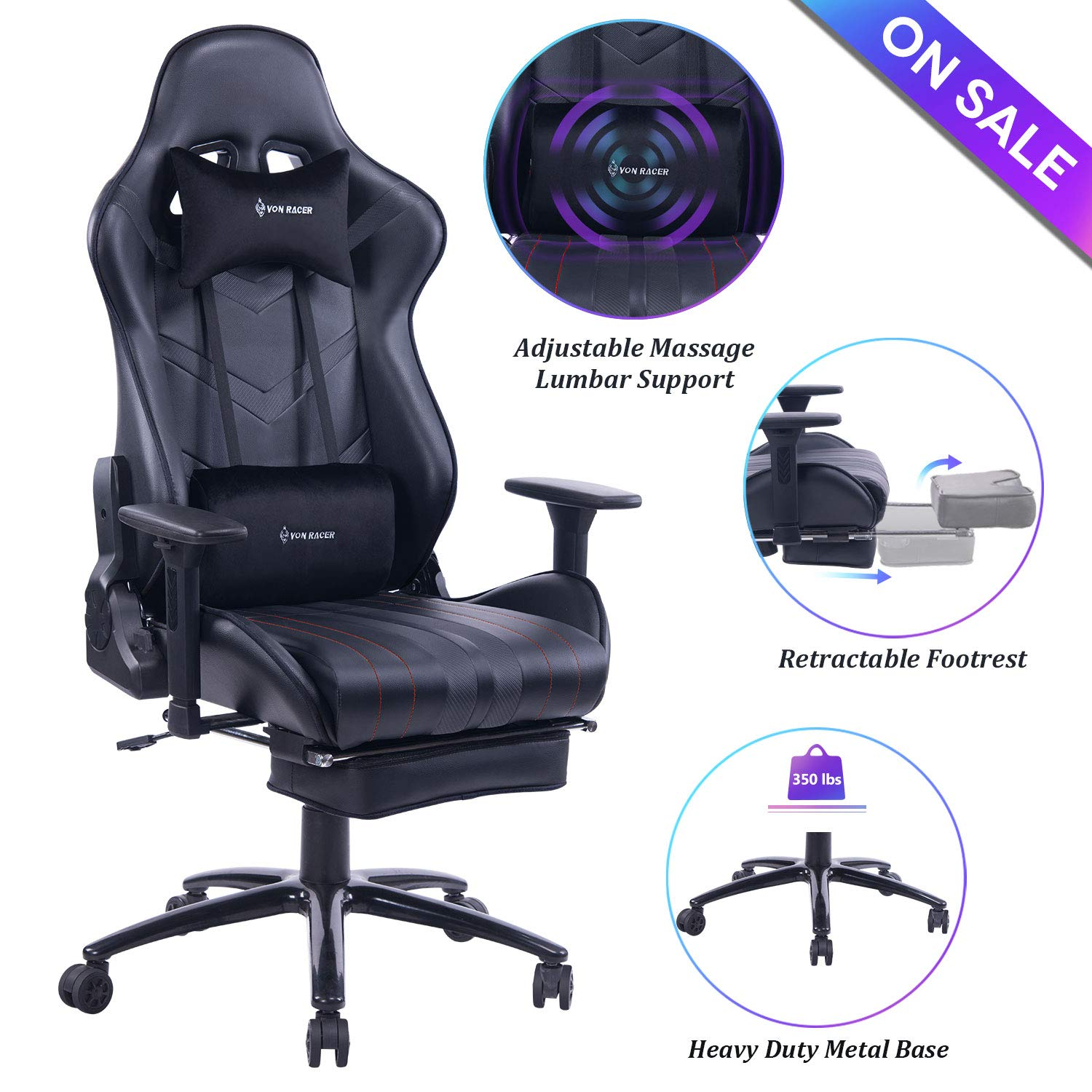 VON RACER Massage Gaming Chair Racing Office Chair - Adjustable Massage Lumbar Cushion, Retractable Footrest and Arms High Back Ergonomic Leather Computer Desk Chair (Black) by VON RACER