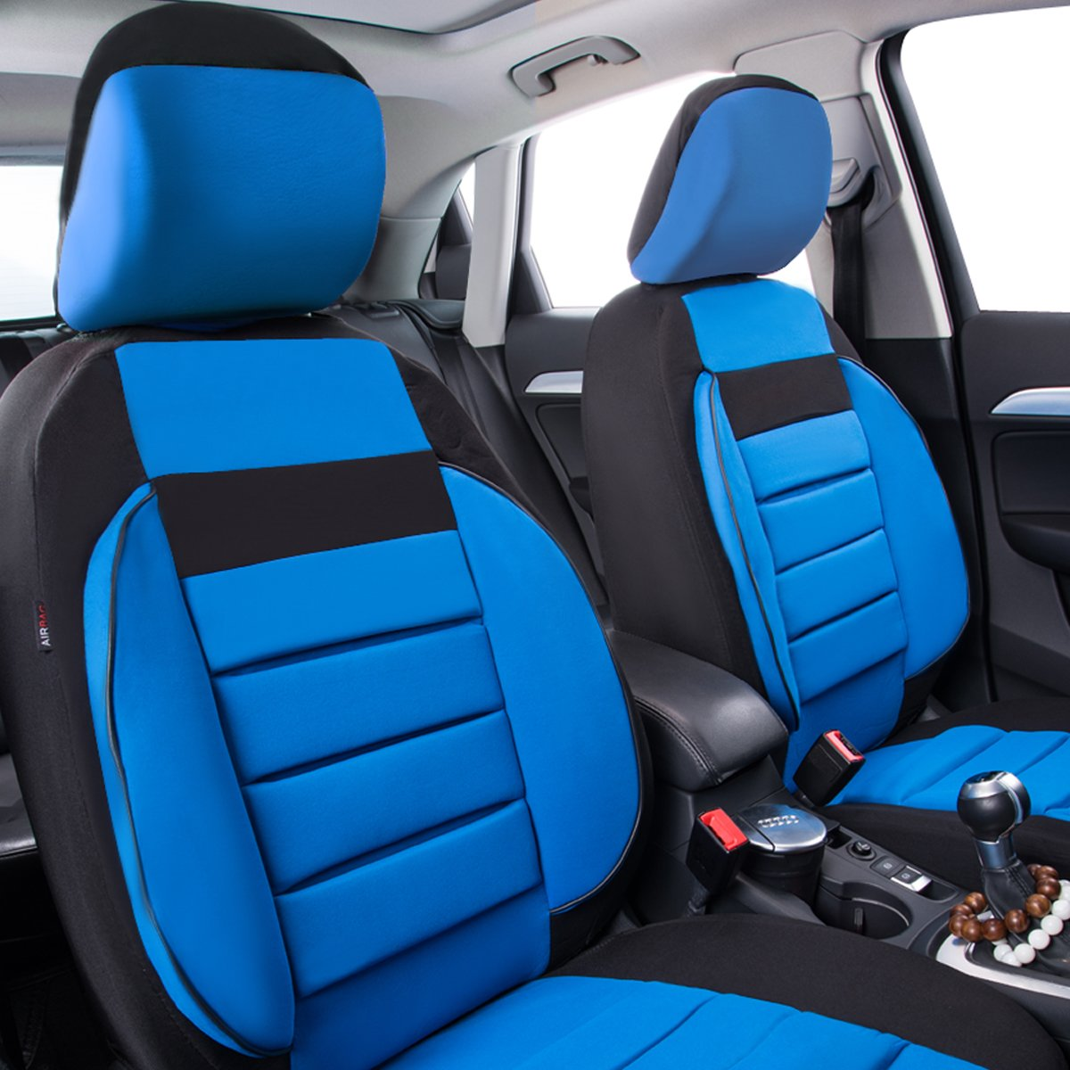 CAR PASS Universal Automobile 2 Front Seat Covers Set Package-Fit for Vehicles,Black and RED With Composite Sponge Inside,Airbag Compatiable Black with Red