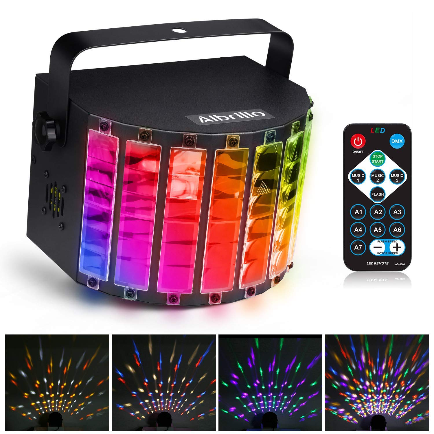 Albrillo LED Party Lights Sound Activated, Stage Lighting 9 Colors with Remote, Disco Lights for Party Festival Bar Club Wedding