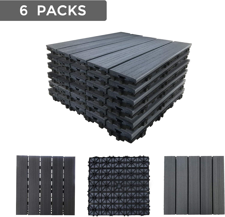 12x12 24, Grey YuPaoPao Wood Flooring Decking Patio Pavers Interlocking Wood Plastic Composite Tiles Outdoors Garden Porch Balcony