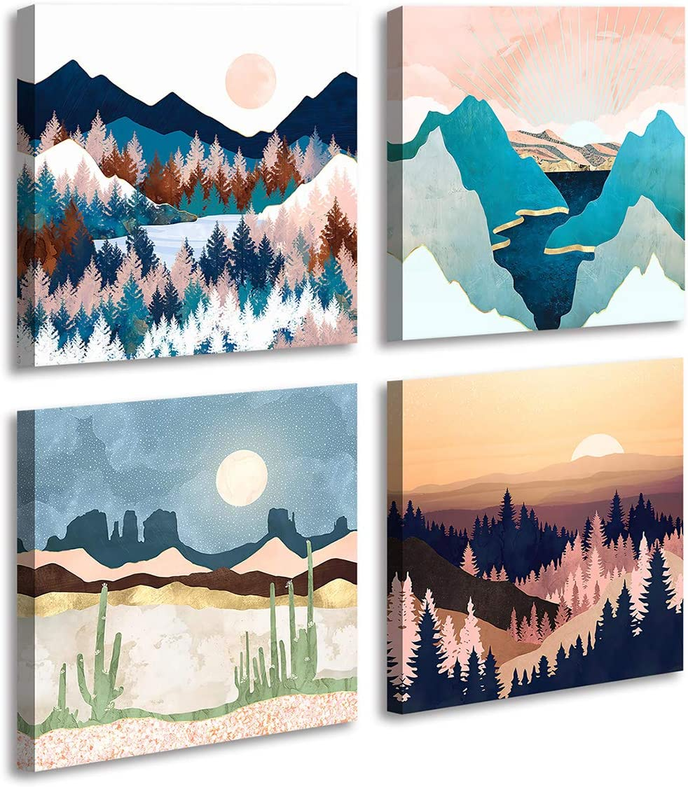 Abstract Geometric Watercolor Painting Wall Decoration-Mountain River Landscape Desert Forest Sunrise Scenery Print Picture Canvas Wall Art for Living Room Bathroom Office Home Decor 12