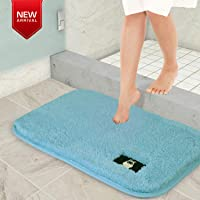 HOKIPO Rubber Backing Anti Slip Microfiber Shaggy Door Mat for Home and Bathroom, 60x40 cm