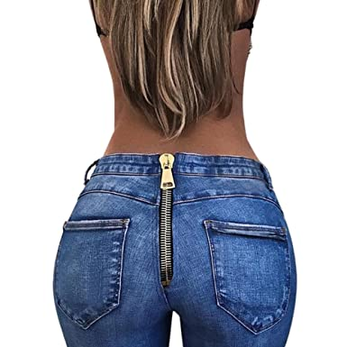 Hzjundasi Señoras Sexy Jeans Cremallera Trasera con ...