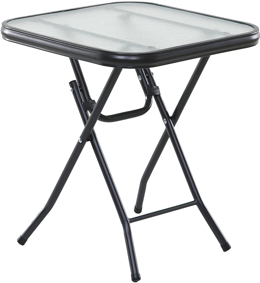 "OneSpace Basics 16"" Square Folding Side Table, Clear"