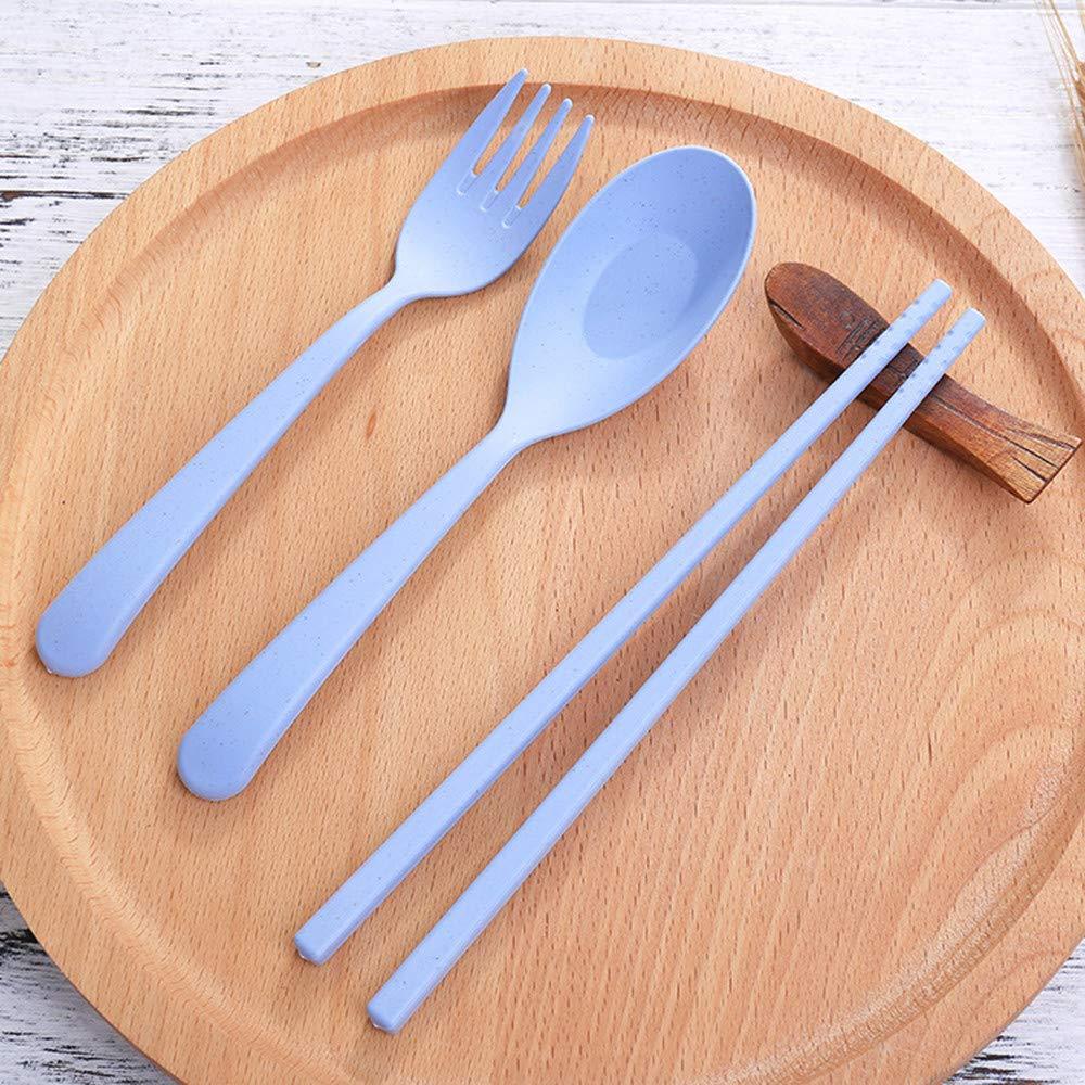 Blue Diadia Home 1Set Reusable Spoon Fork Travel Chopsticks Wheat Straw Tableware Cutlery