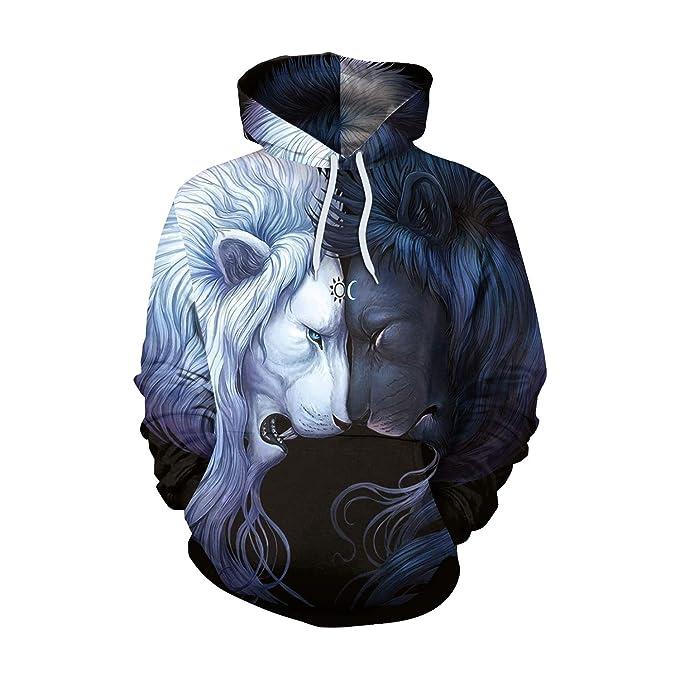 Lanbinxiang@ Sudadera con capucha, estampado en 3D, invierno cálido, punk, poliéster, calle, estampado león, pareja. acogedor: Amazon.es: Ropa y accesorios