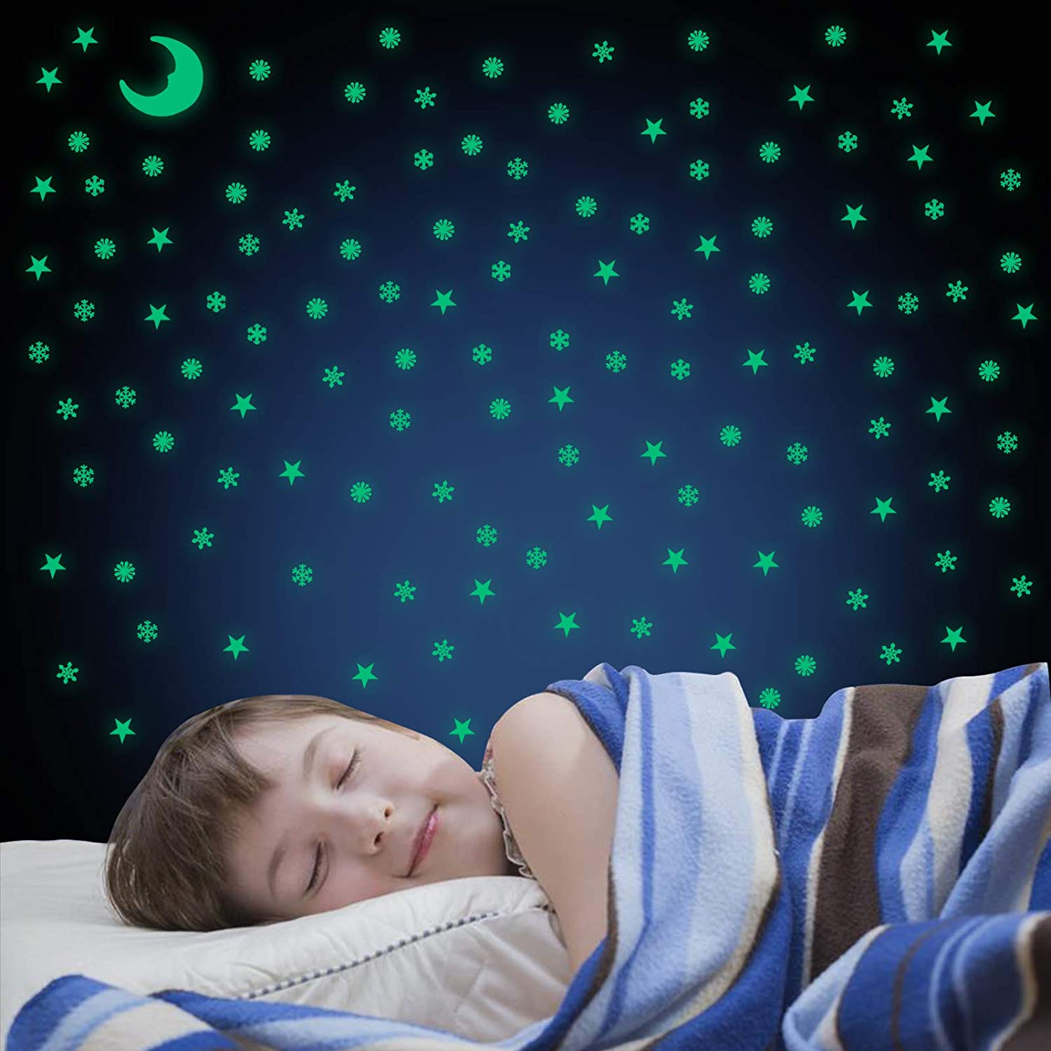 Glow in The Dark Stars for Ceiling, Glow in The Dark Stickers 201 PCS 3D Adhesive Glowing Moon Stars and Snowflake for Starry Sky Wall Stickers Decorations for Kids Bedroom