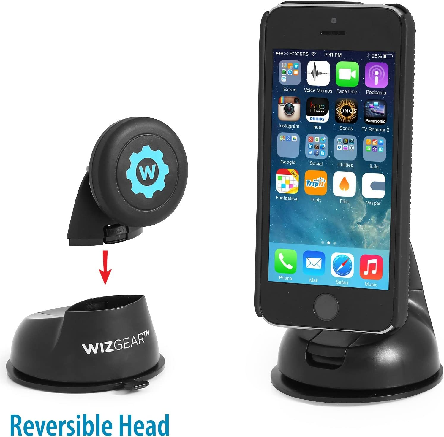 Car Mount WizGear Universal Magnetic Car Mount Holder Dashboard Mount Windshield Mount and Dashboard Mount Holder for Cell Phones with Fast Swift-snap Technology