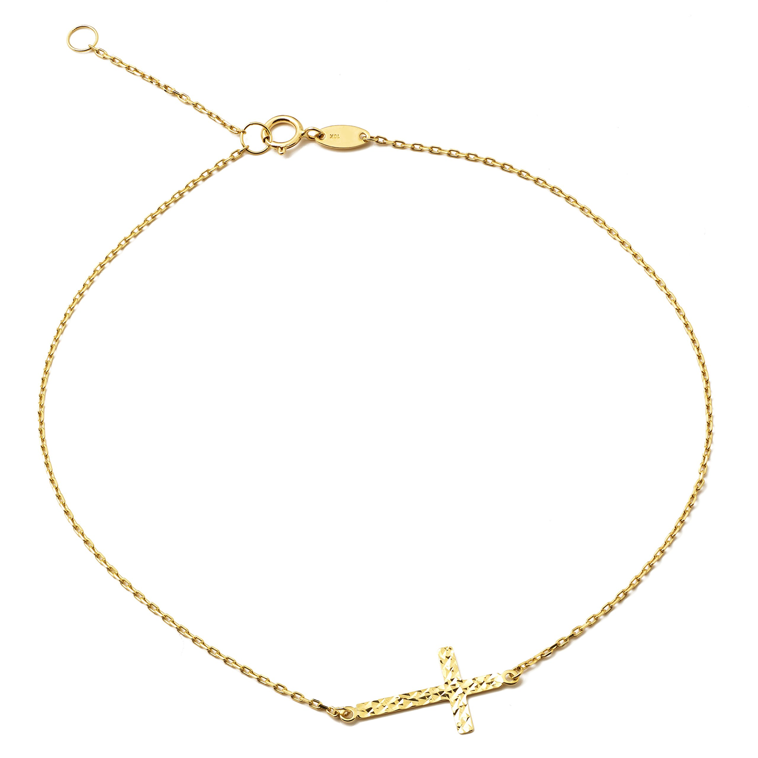 LOVEBLING 10K Yellow Gold .5mm Rolo Chain with Diamond Cut Cross Charm Anklet Adjustable 9'' to 10'' (#46)