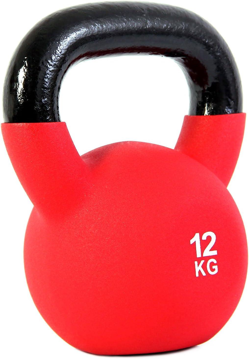 Rojo PDF Workout Pesa Rusa con Revestimiento de Neopreno POWRX Kettlebell Hierro Fundido 4-30 kg