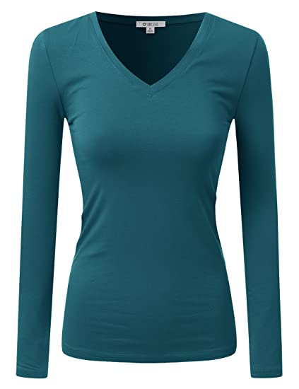 47770052219 DRESSIS Women s Basic V-Neck Long Sleeve Shirt JADE 3XL at Amazon Women s  Clothing store