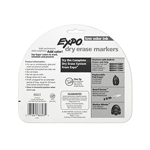 Amazon.com : EXPO Low-Odor Dry Erase Markers, Fine Point, Assorted ...