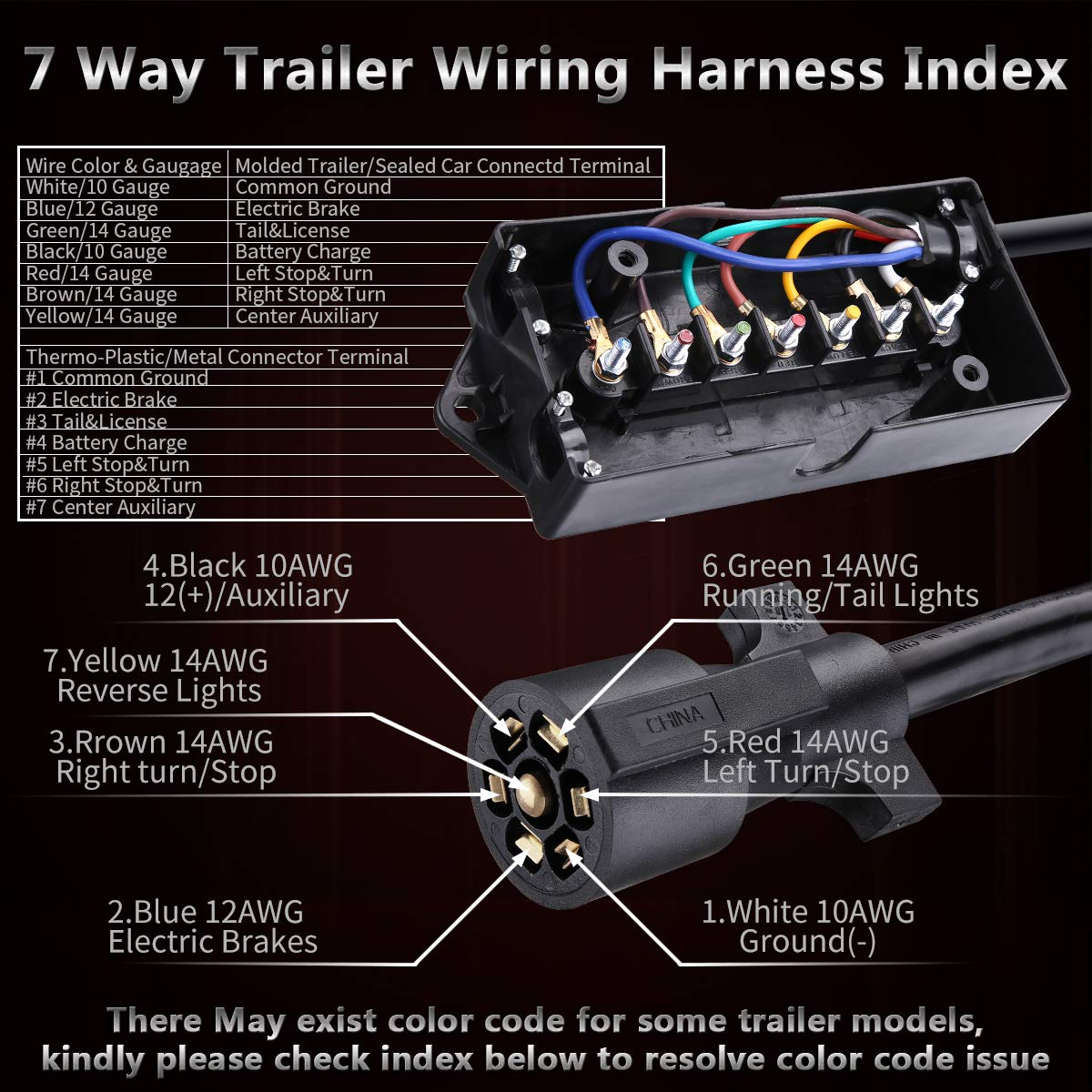 Kaslight 8ft Ip68 7 Way Trailer Cord With Junction Box Led Turn Signal Wire Diagram Along Pin Wiring Plug Cable Harness Kit Anti Corrosion