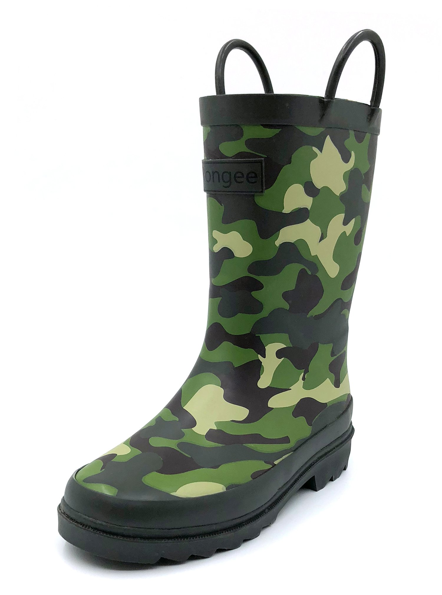 Rongee Camouflage Printed Matte Rubber Rain Boots for Kids Boys with Handles and Oxford Bag Packed (1M US Little Kid)