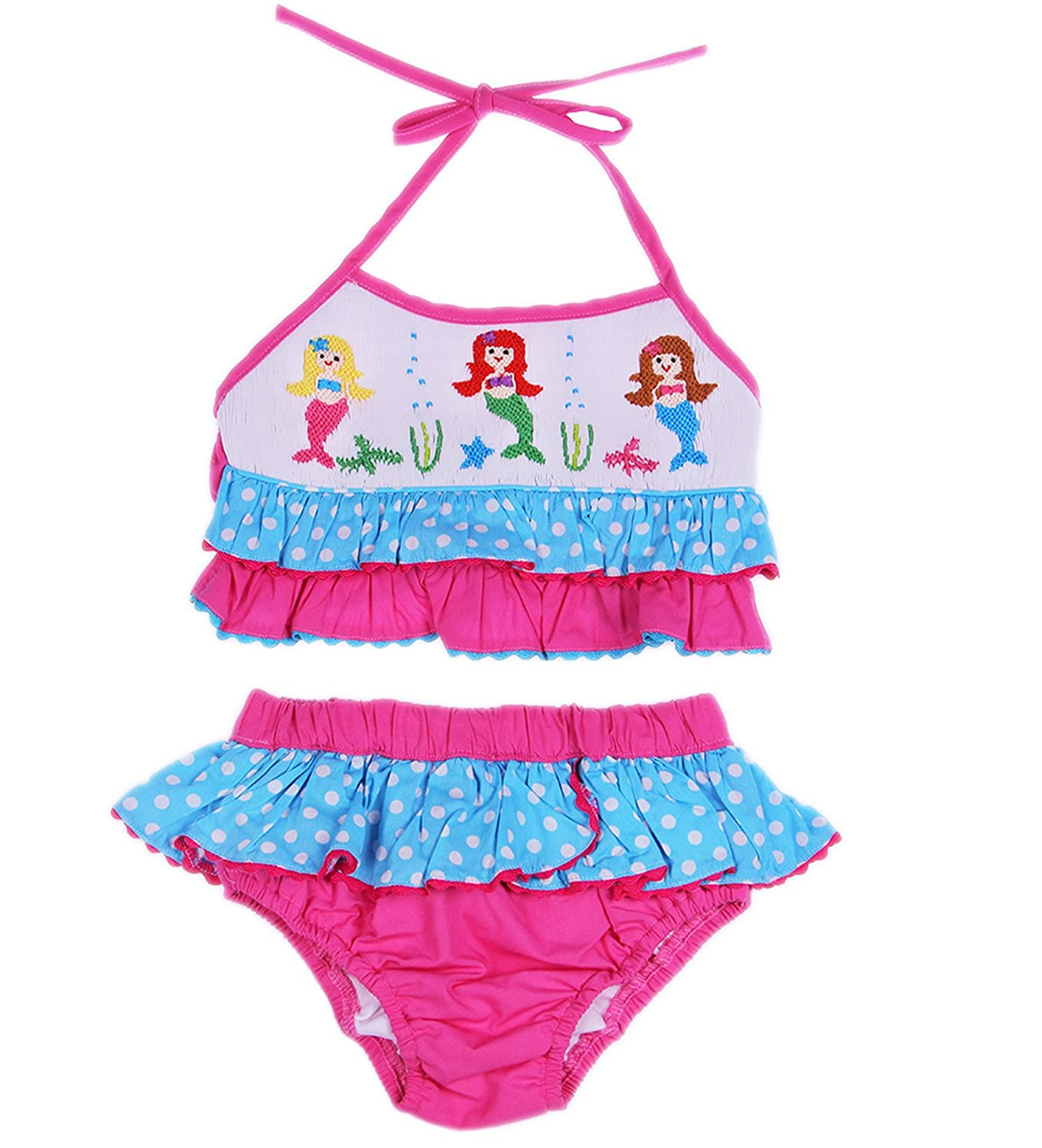 e43fb665297 Babeeni Boutique Little Girls Toddler Smocked Mermaid 2 Pc Cotton Swimsuit