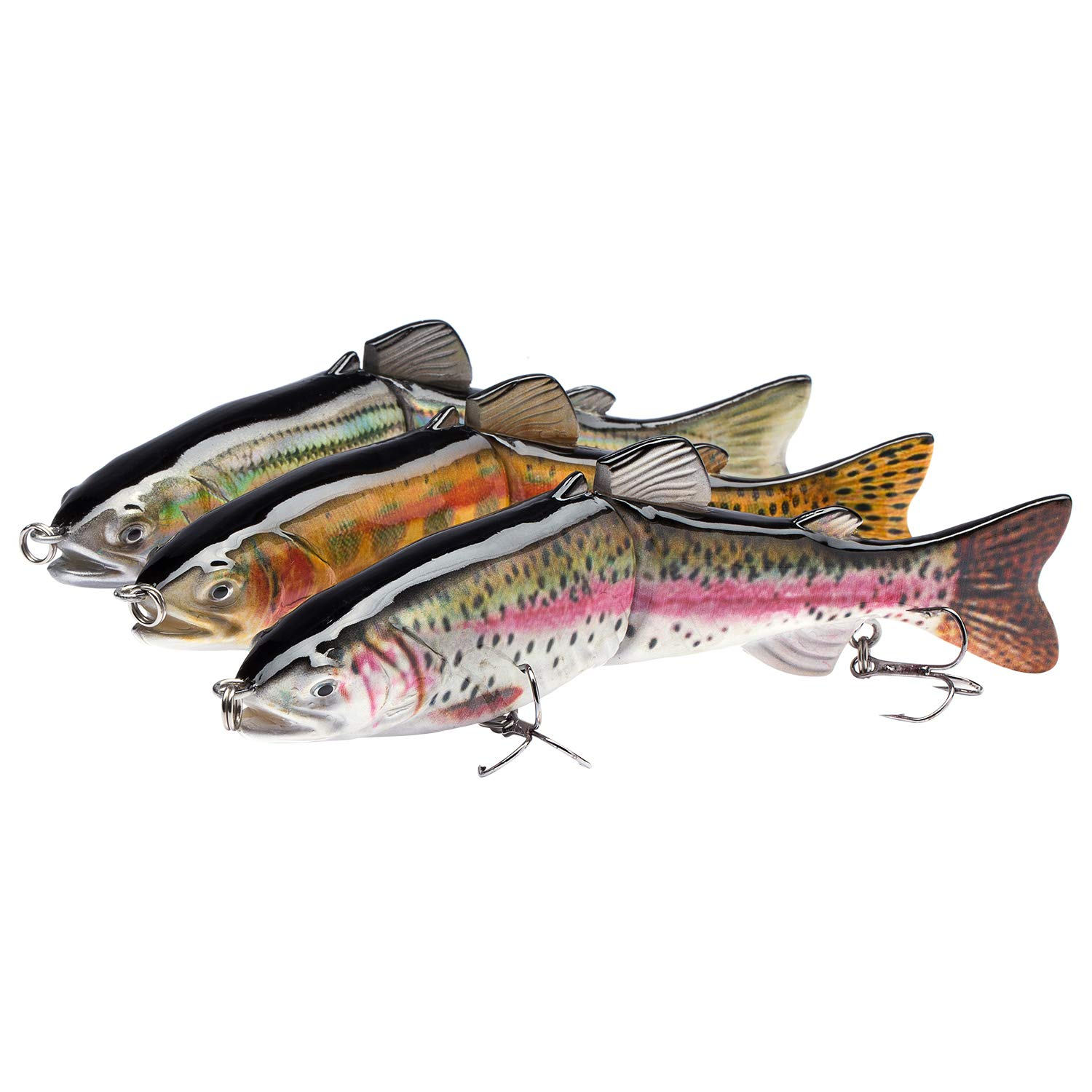 Bassdash Swimpike Multi Jointed Swimbaits Bass Fishing Lure Hard Body Soft Fins 8'' 2-1/2oz, 6 Colors, (SwimTrout - 7.2in/2.3oz - Pack of 3)