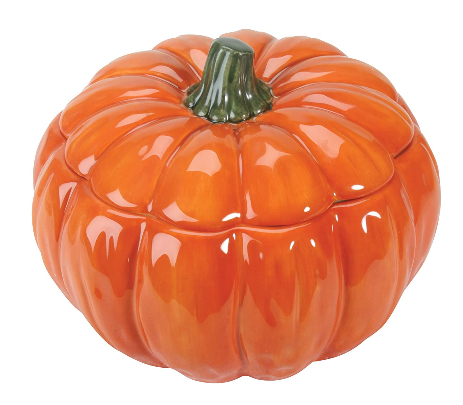 Ceramic pumpkin glossy orange lidded soup bowl
