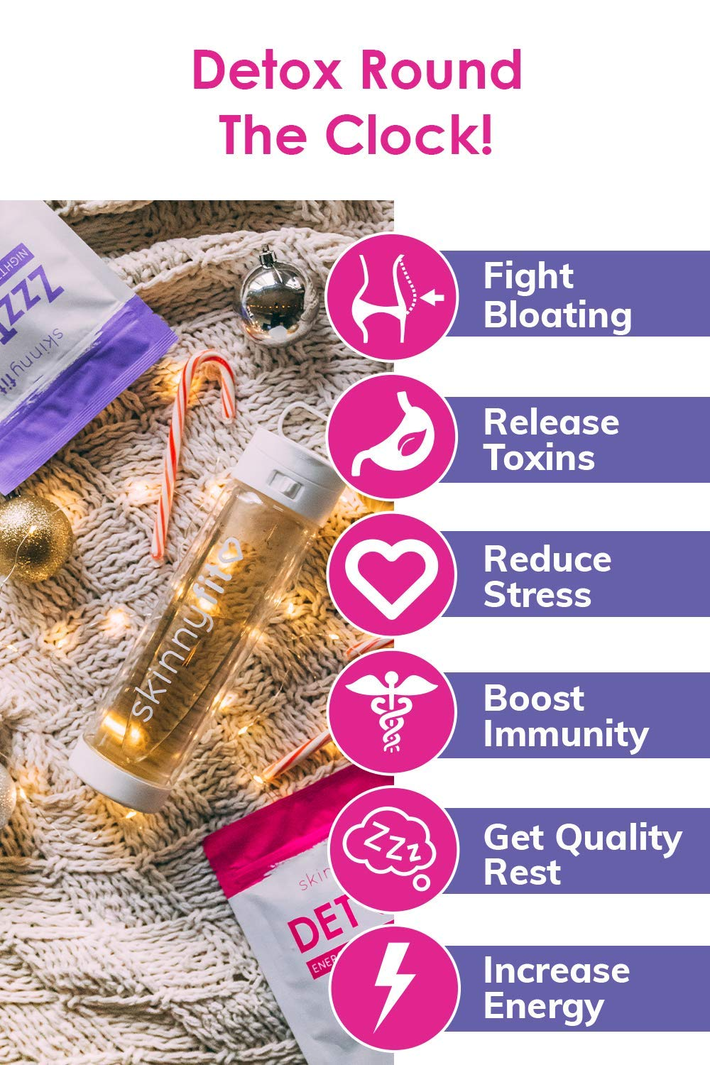 SkinnyFit Detox and ZzzTox 24/7 Bundle 56 Servings: Cleanse with All-Natural, Laxative-Free, Green Tea Leaves, Chamomile and Lavender. Gluten-Free - Slimming Way to Release Toxins and Reduce Bloating by SkinnyFit (Image #1)