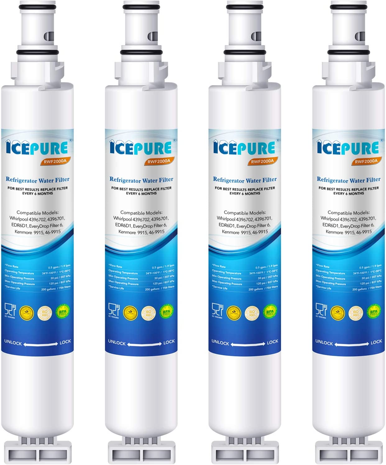 ICEPURE Refrigerator Water Filter, Compatible with 4396701, 4396702, EDR6D1, Filter 6, L200V, Kenmore 9915, 46-9915 [4PACK]