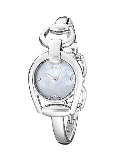 Gucci YA139506 - Reloj de cuarzo para mujer, con correa de acero inoxidable, color plateado: Amazon.es: Relojes