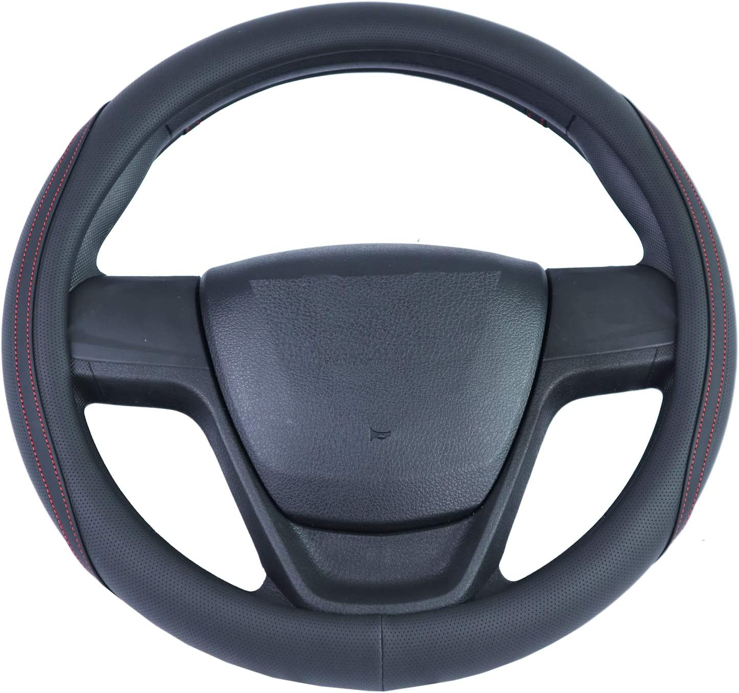 Outon Microfiber Leather Universal Car Steering Wheel Cover 37-38cm//14.5-15inch Black