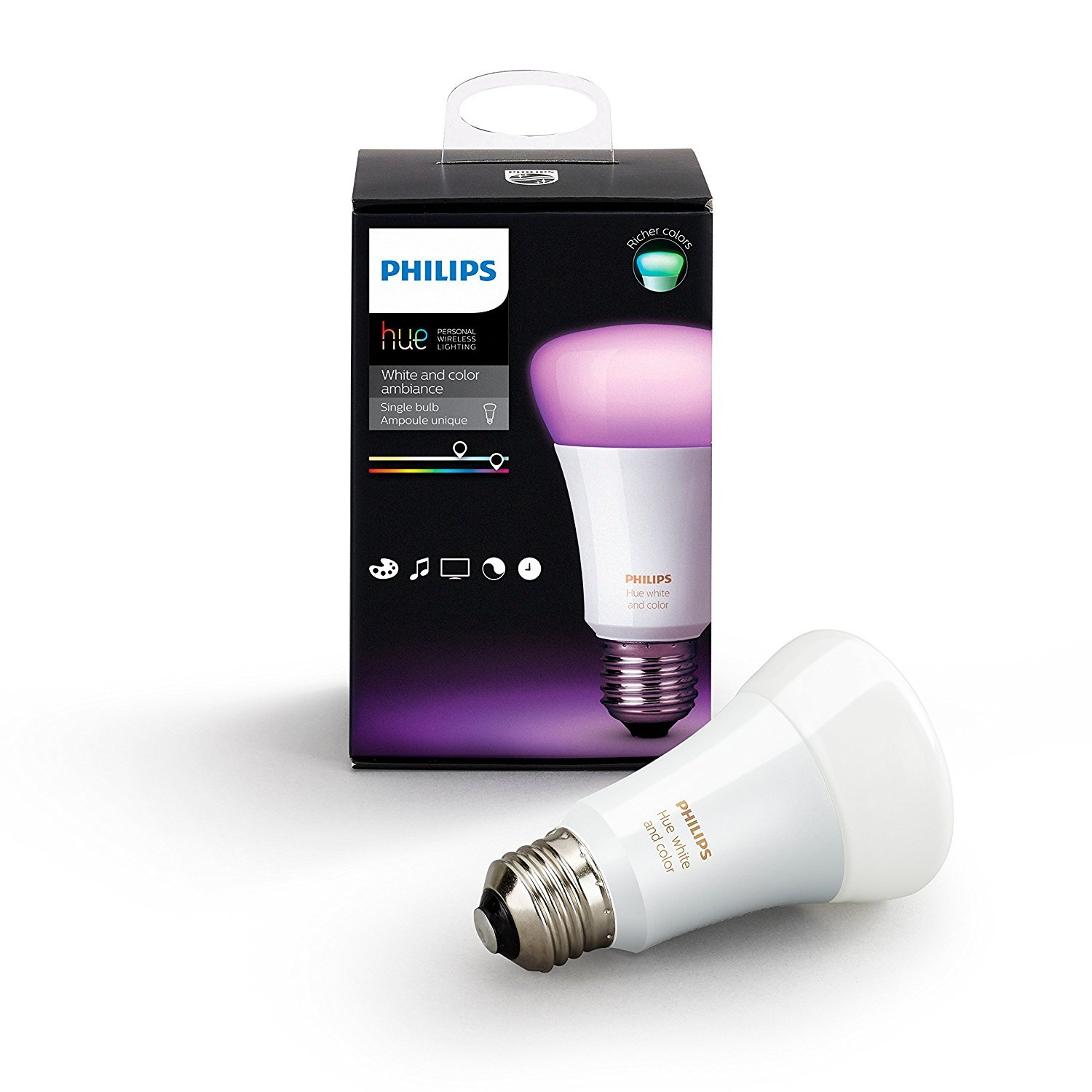 Philips Hue White and Color Ambiance A19 60W Equivalent Dimmable LED Smart Bulb (1 Bulb Compatible with Amazon Alexa Apple HomeKit and Google Assistant)